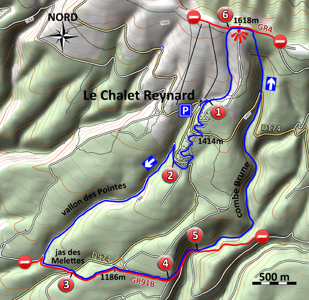 Les combes du chalet Reynard - Carte - Le blog du hérisson