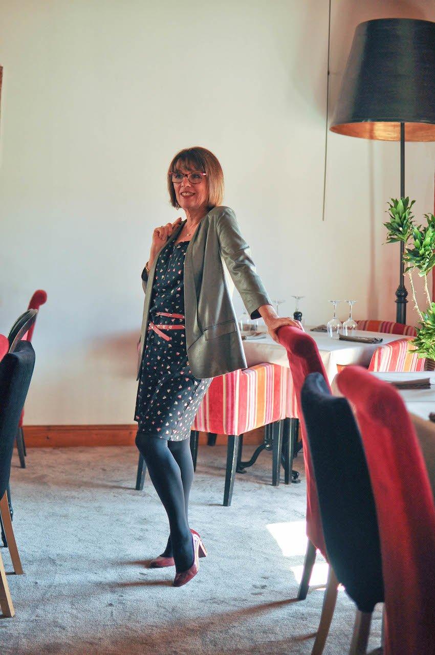 Robe impirmée-Blancheporte-Restaurant- dejeuner-mode