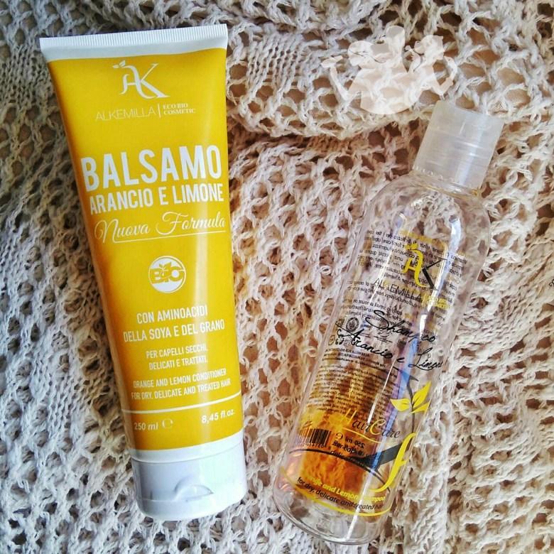 La combo Alkemilla per capelli sfibrati e secchi: shampoo e balsamo arancio e limone