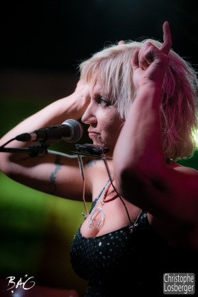 Sofie Reed (vocals, lap steel guitar, dulcimer, harmonica). Sofie Reed and deltaR @ Blues Café & BAG Thursday, Geneva, 28-jan-2016. (c) Christophe Losberger