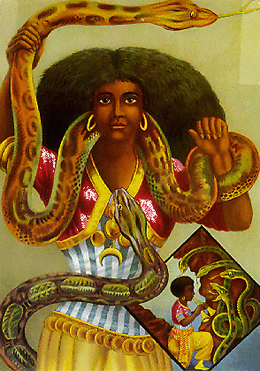 Chromolithographie de Arnold Schleisinger (1926) qui est devenue la représentation courante de Mami Wata.