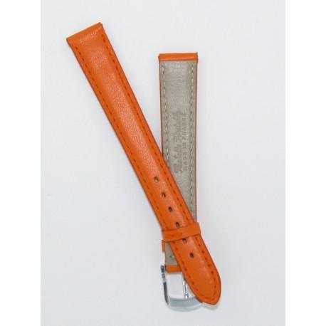 bracelet montre femme orange cuir vachette plat