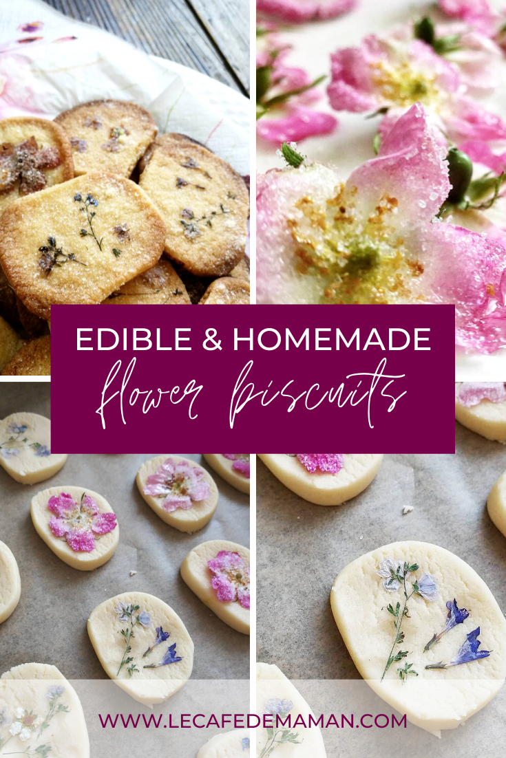 Homemade edible flower biscuits