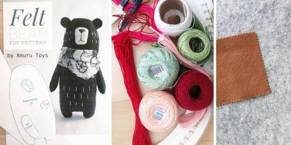 felt bear toy pattern