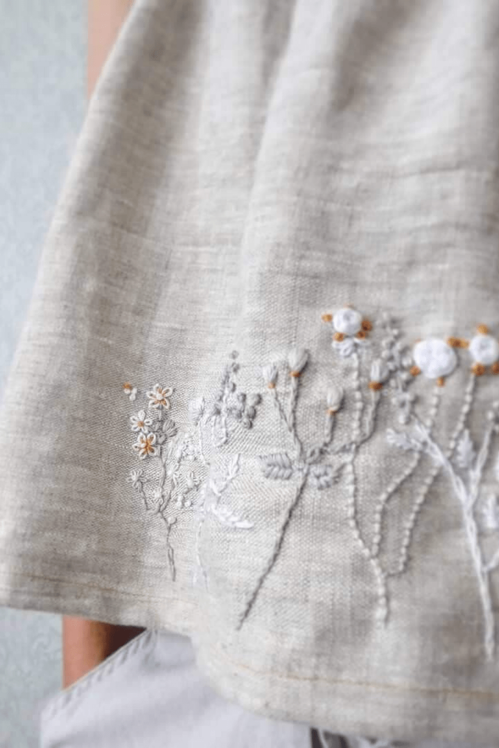 linen tank top embroidery
