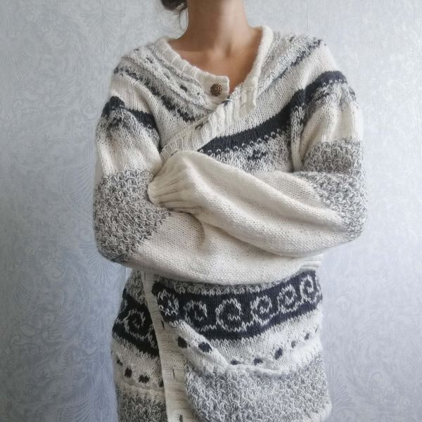 handknitted cardigan with nordic pattern