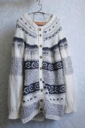 old times hand knitted cardigan