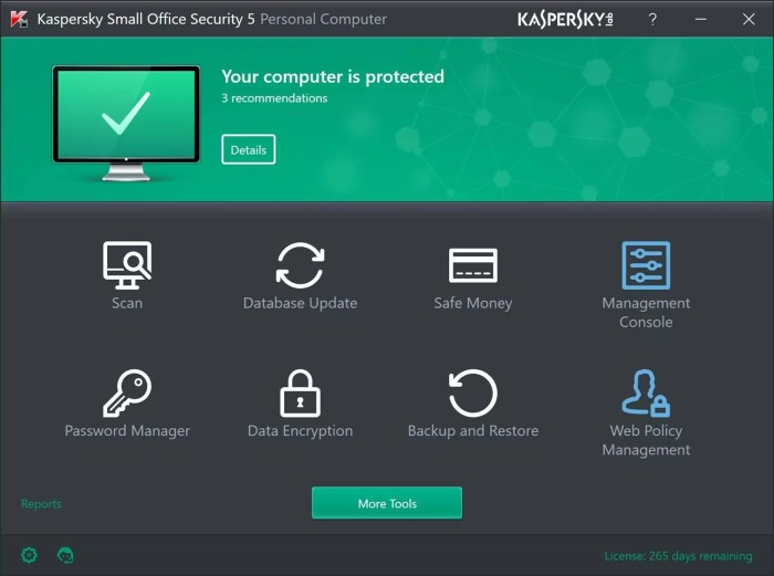 kaspersky interface