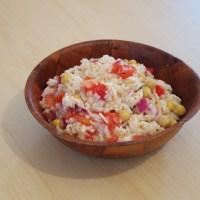 Salade de riz avec de la sauce chien