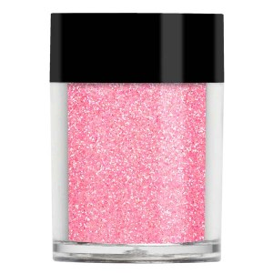 Nail art glitter in an iridescent pastel candy pink colour with lilac undertones.