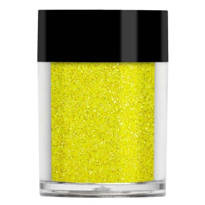 Nail art glitter in iridescent bright yellow with green undertones.
