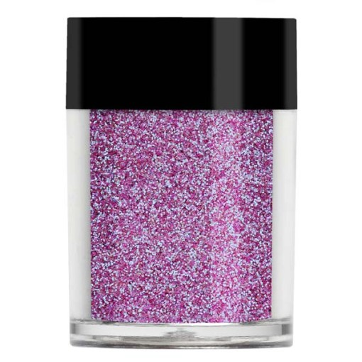 Nail art glitter in a bright purple iridescent with blue undertones.