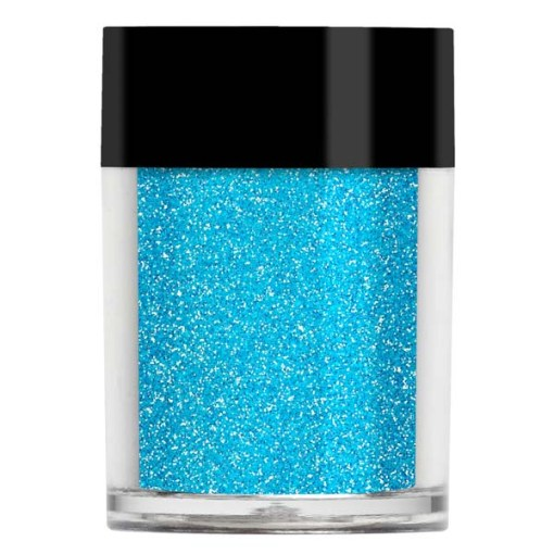 Nail art glitter in a blue iridescent with a turquoise undertone.