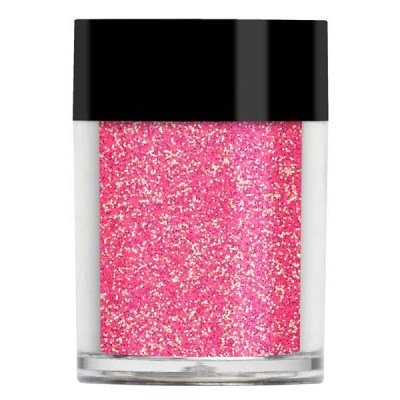 Nail art glitter in a translucent iridescent bright pink with gold undertones.