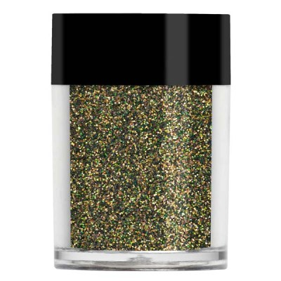 Nail art glitter in a dark, khaki iridescent colour with brown undertones.