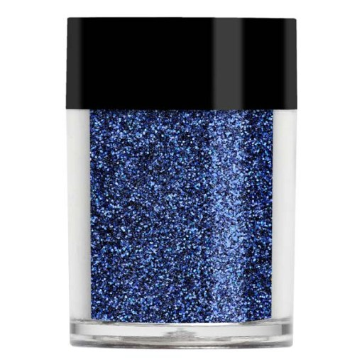 Nail art iridescent glitter with a navy with bright purple undertones.