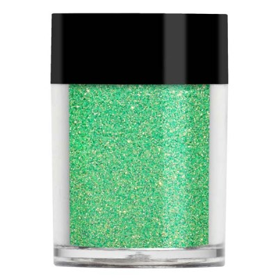 Nail art glitter in a iridescent pastel green with light yellow undertones.