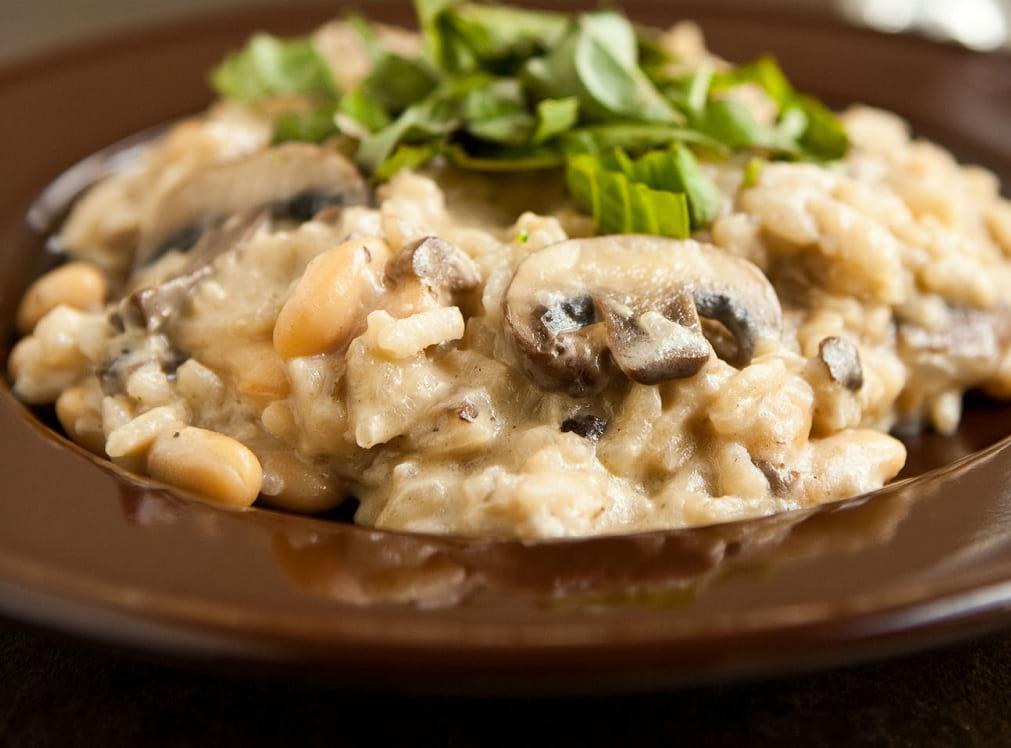 risotto de champiñones con pesto