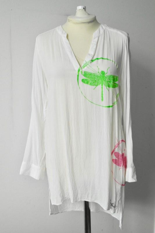 Pink & Green Print on White Tunic Size 12/40