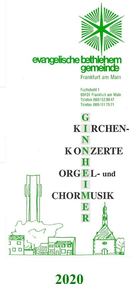 """Faltblatt Ginnheimer Kirchenkonzerte, Orgel- und Chormusik"""" 2020"""