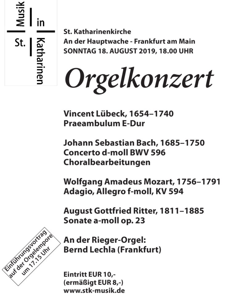 Orgelkonzert St. Katharinenkirche - Frankfurt am Main 18. August 2019
