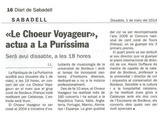 2014-03-01 DIARI DE SABADELL Le Choeur Voyageur actua a la Purissima
