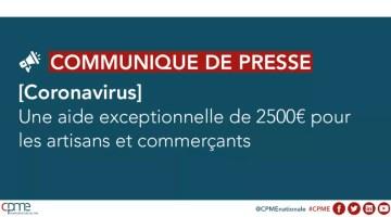 aide 2500 euros commerçants et artisans