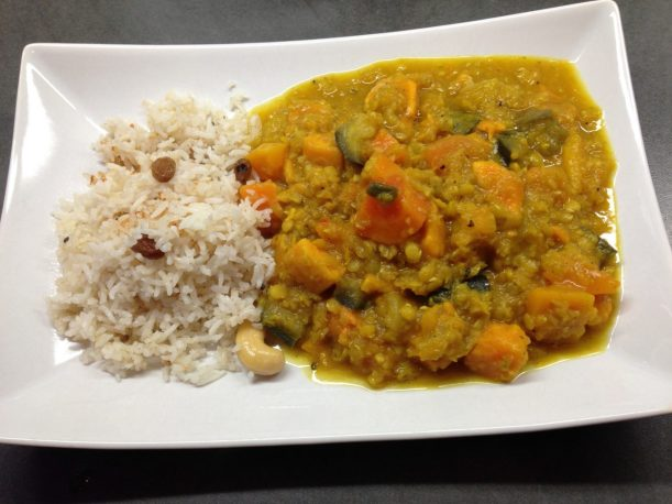 Papaya Kürbis Süßkartoffel Linsen Curry