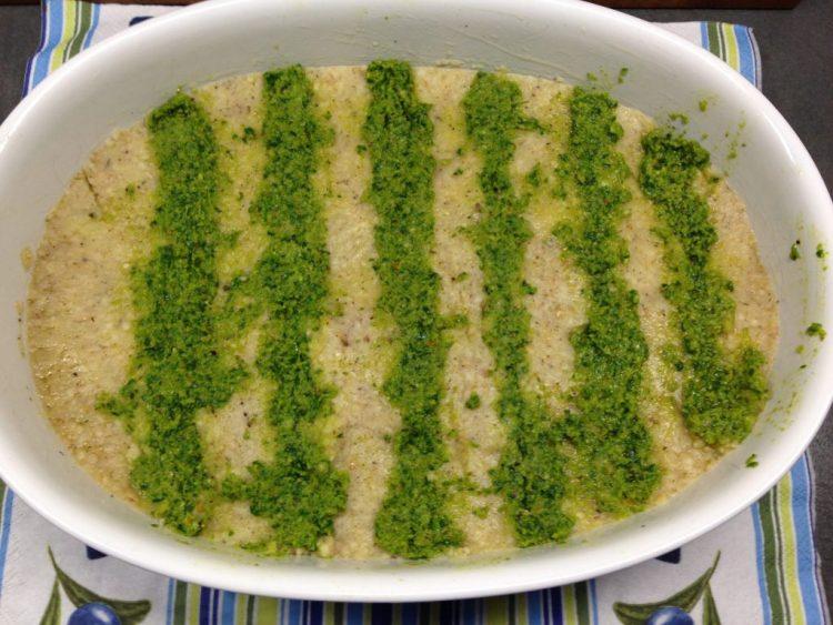 Libanesischer Kartoffel Bulgur Auflauf mit Haselnuss Pesto