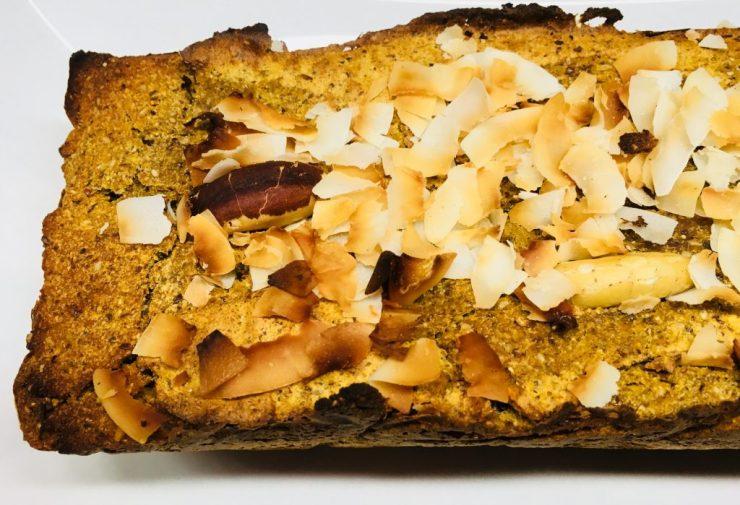 Süßkartoffel Bananen Brot mit Chia und Ingwer