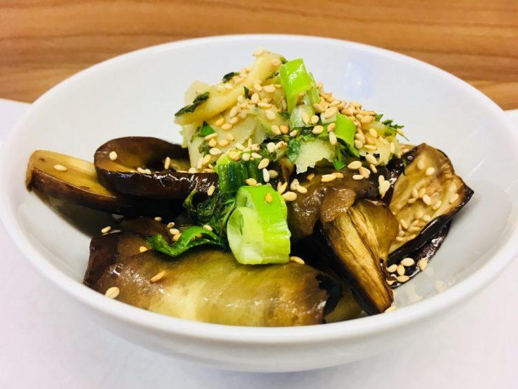 Japanischer Auberginen Salat mit Sesam Ingwer Sauce