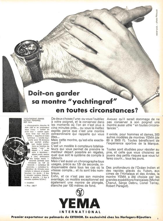 YEMA Yachtingraf Publicité Presse 1970