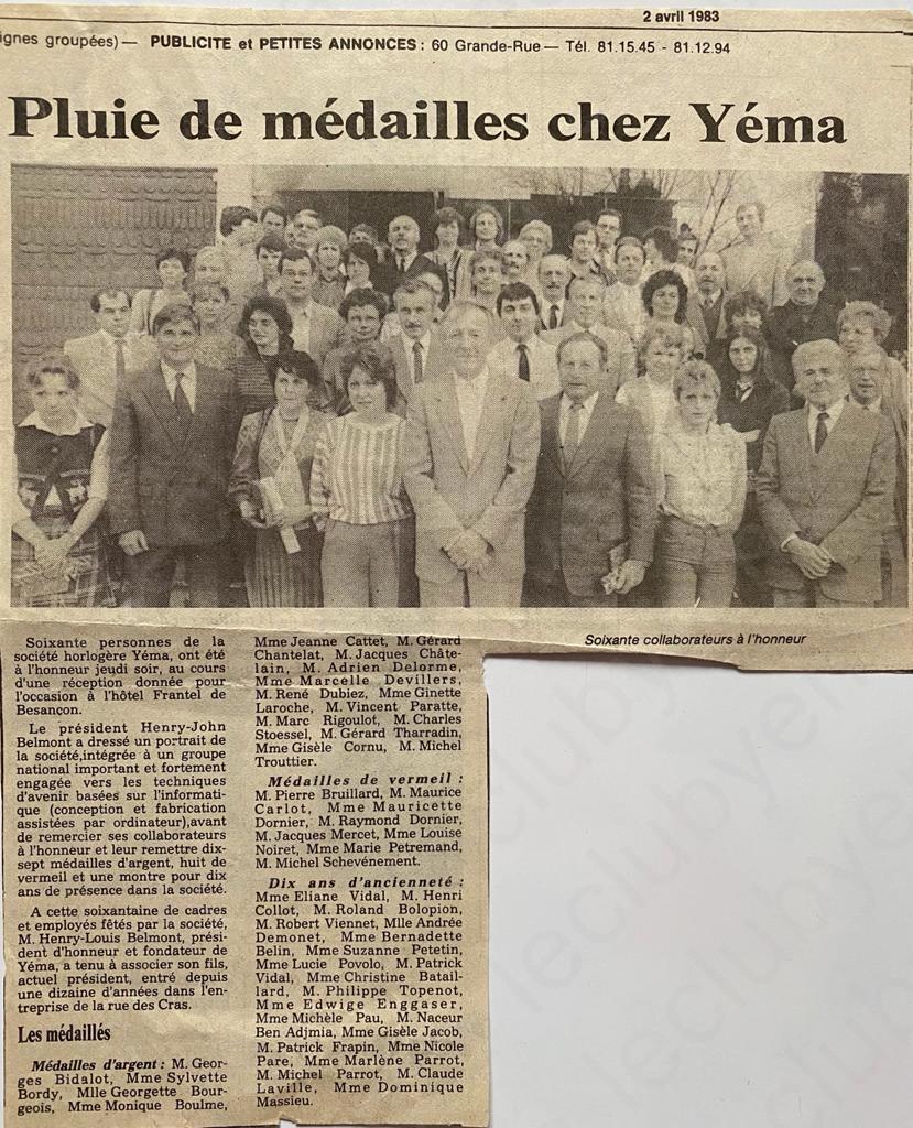 des medailles chez Yema montre 1983