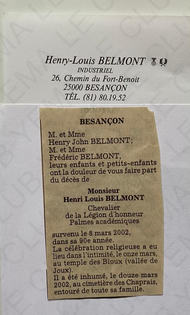 Avis de décès Henry Louis Belmont