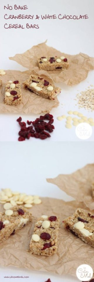 These No Bake Cranberry & White Chocolate Cereal Bars are moreish, delicious & take little time to put together. Perfect in lunchboxes or as a sweet treat.