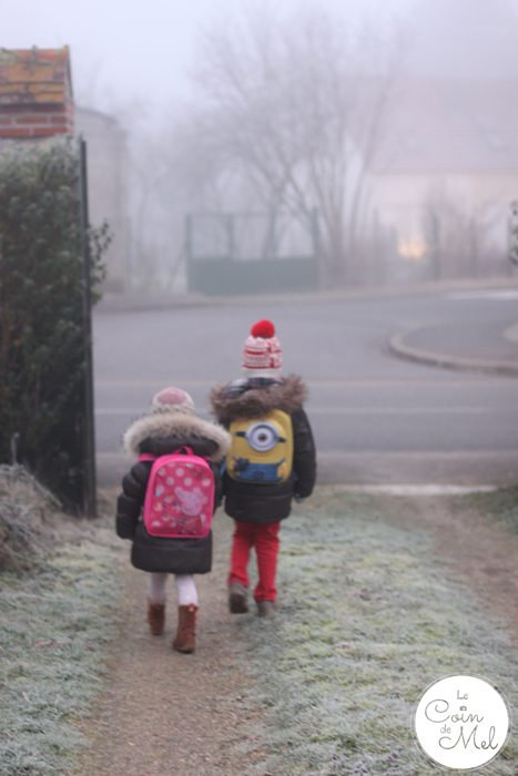 School in France - Walk to school - Foggy Morning