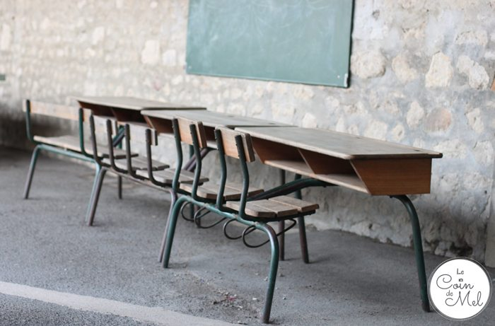 School in France - Wooden Desks in the Playground