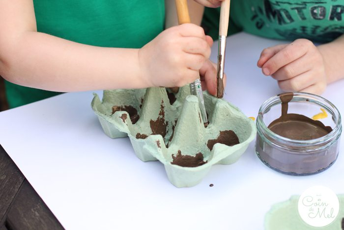Egg Heads with Cress Hair - Painting the Egg Box