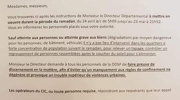 """Une note avait circulé vendredi 24 avril intimant aux policiers de """"ne pas intervenir dans les quartiers à forte concentration de population suivant le ramadan""""."""