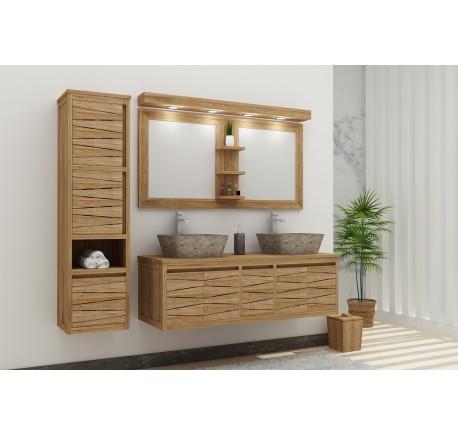 meuble salle de bain teck massif fly harmony double vasque 4 portes 1 tiroir