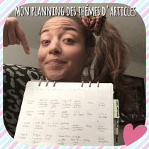 Planning des thèmes des articles du blog