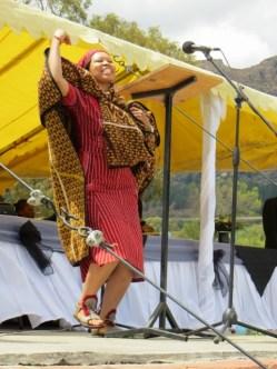 Rev. J. M. Letsie leading the singing at Leeto la Thapelo 2013