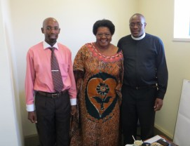 Rev. Gourdet with CCL General Secretary Mr. Thabiso Mokobori and CCL Chairperson Rev. Khethang Posholi