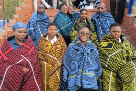 Theological students robed in Basotho blankets