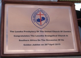 Plaque received from the United Church of Zambia