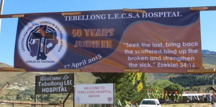 Welcoming signs to Tebellong Hospital