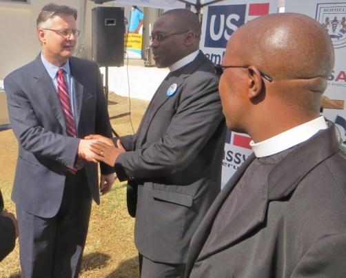 US Ambassador Harrington and LECSA Executive Secretary Rev. Posholi