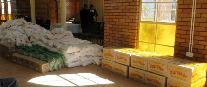 Food aid at Mafeteng LECSA for distribution