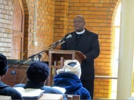 LECSA Moderator Rev. Tšeliso Simeon Masemene speaking at Mafeteng LECSA