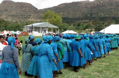 Leribe Presbytery women marching in